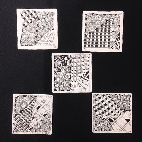 "Lovely student tiles from yesterday's ""Introduction to Zentangle"" class (last one until June!) in Windsor, Ontario. #zentangle #tangle #tangling #czt #laurelreganczt #art #classes #artclass #artclasses #draw #drawing #windsor #ontario #yah 