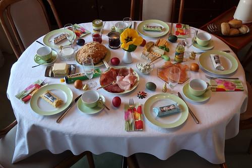 Frühstückstisch am Ostersonntag