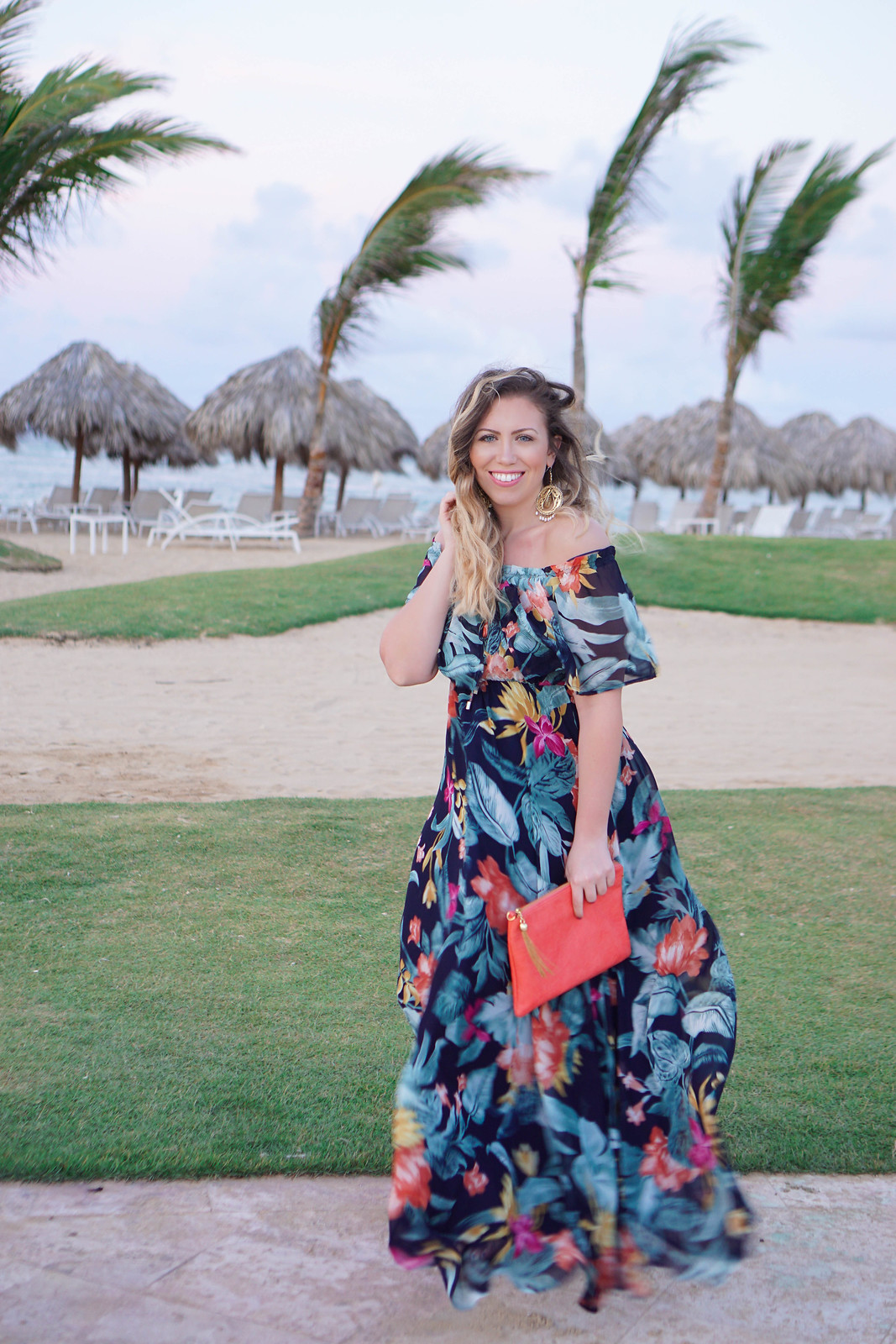 My Favorite Spring Trends Lulu's Navy Floral Print Off Shoulder Maxi Dress Now Onyx Punta Cana Dominican Republic Beach Vacation Outfit