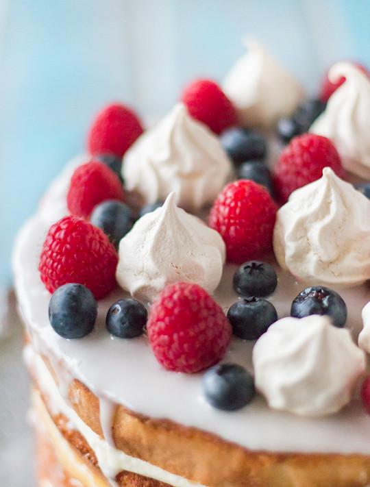 Meringue Cake With Whipped Cream And Raspberries