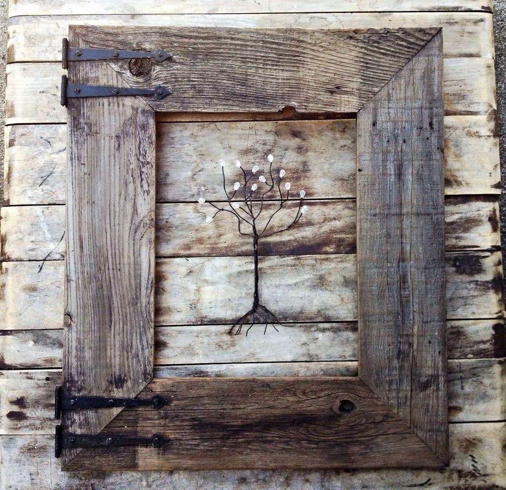 rustic barn wood frame with vintage rustic hinges by menas rustic decor country living
