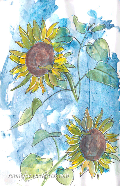 sketchy messy sunflowers