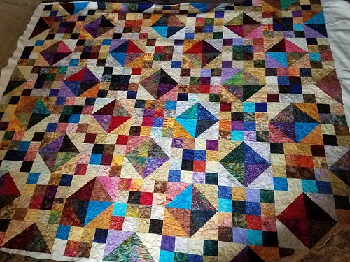 Three hours later Buckeye Beauty is quilted.  This is a big one!
