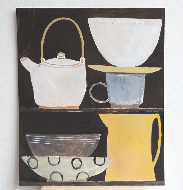still life with pale teapot