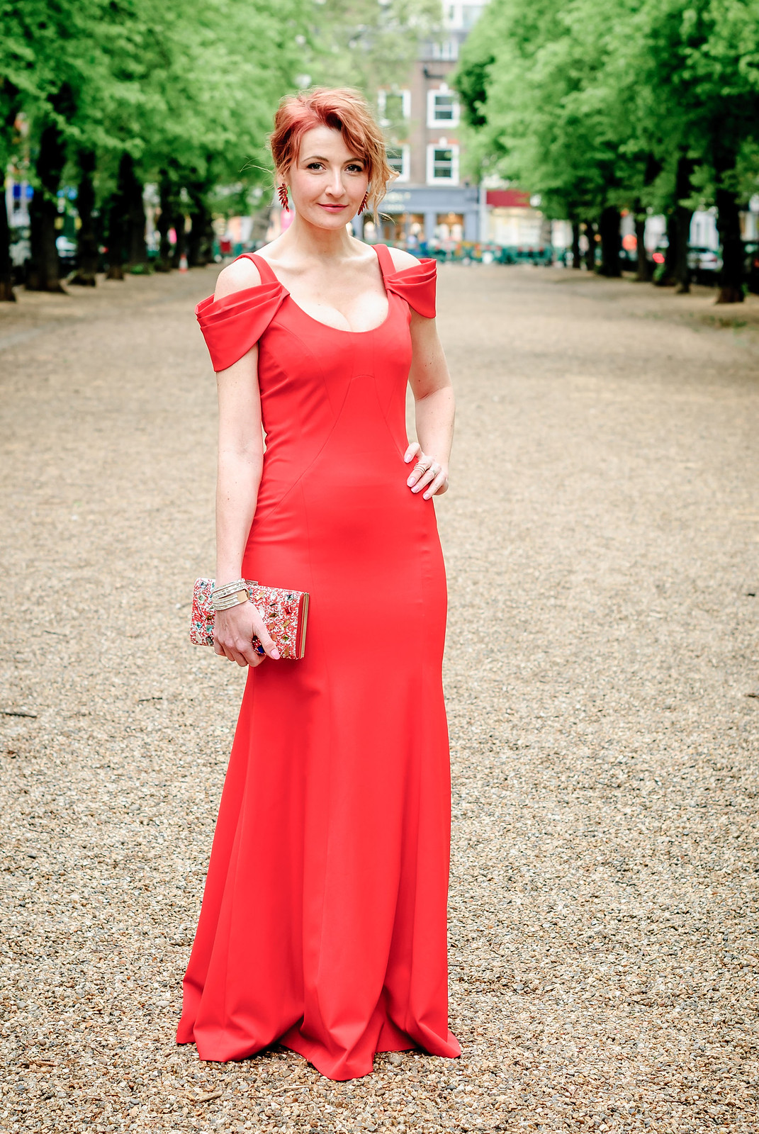 Awards ceremony outfit - Long red fitted gown with shoulder detail crystal embellished box clutch red crystal earrings | Not Dressed As Lamb, over 40 style