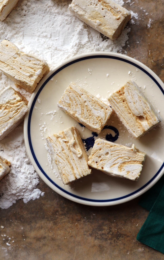 Homemade Sea Salt Caramel Swirl Marshmallows