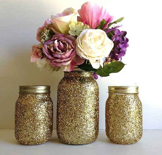 Golden Mason Jar Wedding Decorations Made This Adorable