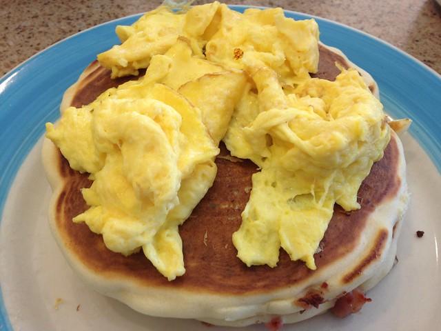 Hungry Man Pancakes Bacon Sausage Scrambled Eggs | Hungry ...