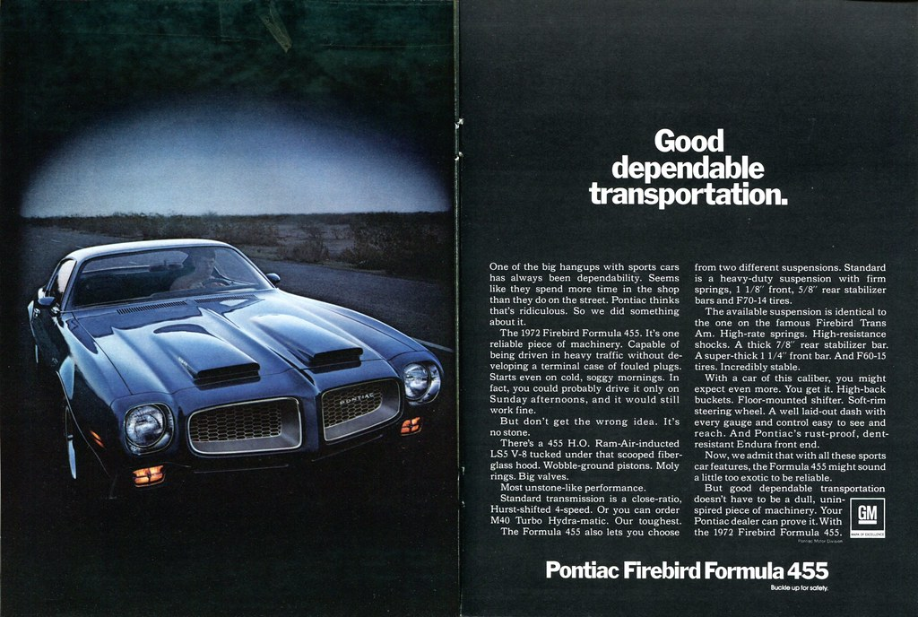 1972 Pontiac Firebird Formula 455 Advertisement Hot Rod Ma