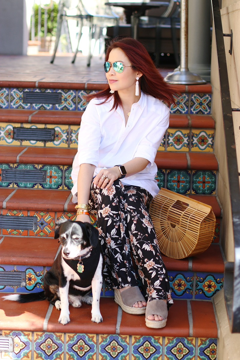white-shirt-floral-pants-dog-cult-gaia-ark-bag-6
