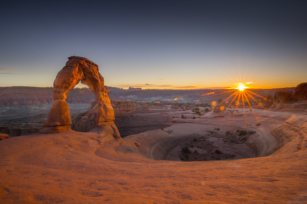 Natural Beauty Sunset Stone Gate Delicate Arch Arches National Park Utah  United States Hd Desktop Wallpaper For Your Computer 1920×1200