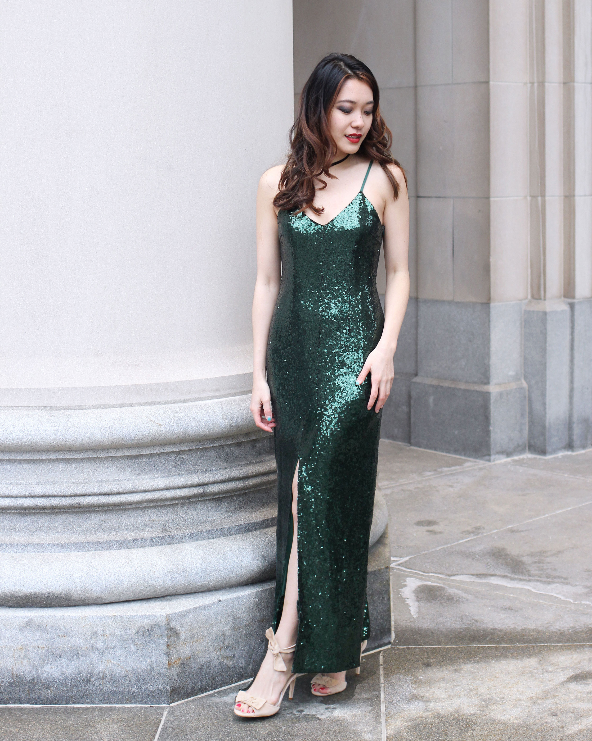 Shimmery green sequin maxi dress for black tie formal gala