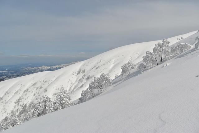 白き穏やかな山容の守門岳