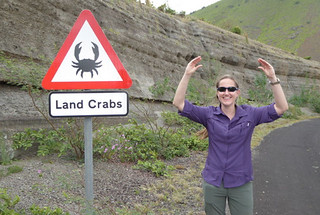 The author poses in front of a crab sign on Ascension Island, where she installs instruments to collect data about black carbon aerosols. The isolated tropical island is dominated by non-native species across its rugged volcanic terrain. Interesting and rare indigenous species, however, include large land crabs, marine crabs, nesting sea turtles, frigate birds, and three species of boobies. Most of the human residents are associated with the two military bases for the United States and United Kingdom.