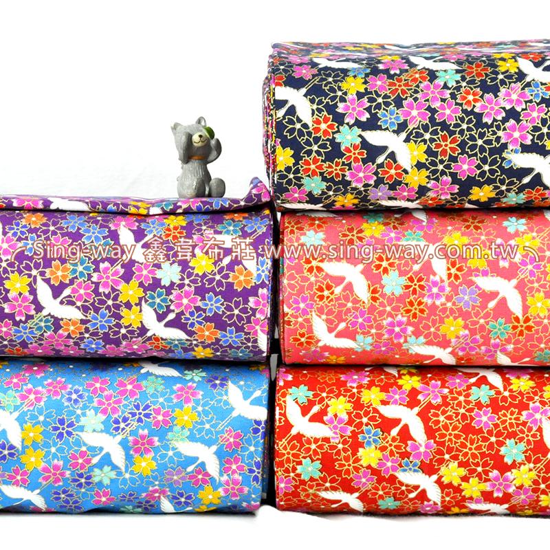 日式櫻花 日式和風白鶴花卉 手工藝DIy拼布布料 CF550570