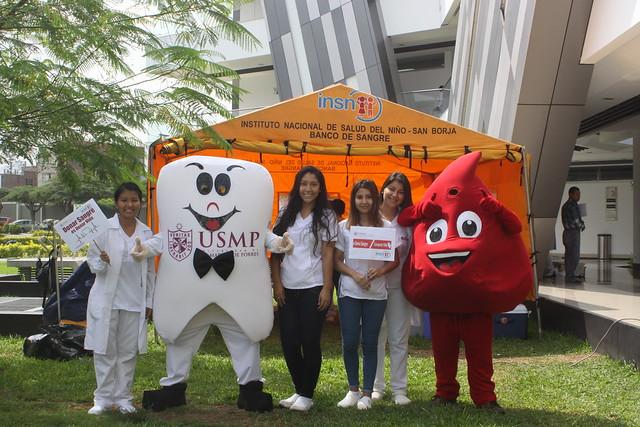 Facultad de Odontología de la USMP y el Instituto Nacional de Salud del Niño – San Borja desarrollaron campaña de donación de sangre en la Ciudad Universitaria