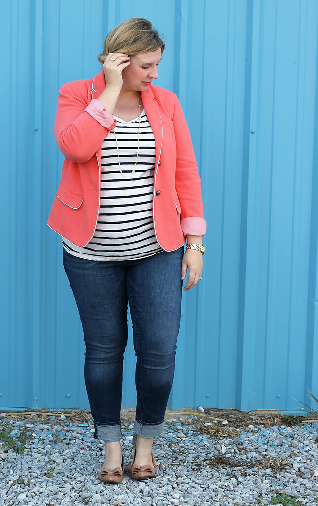 coral blazer, stripe tee and skinny jeans 4