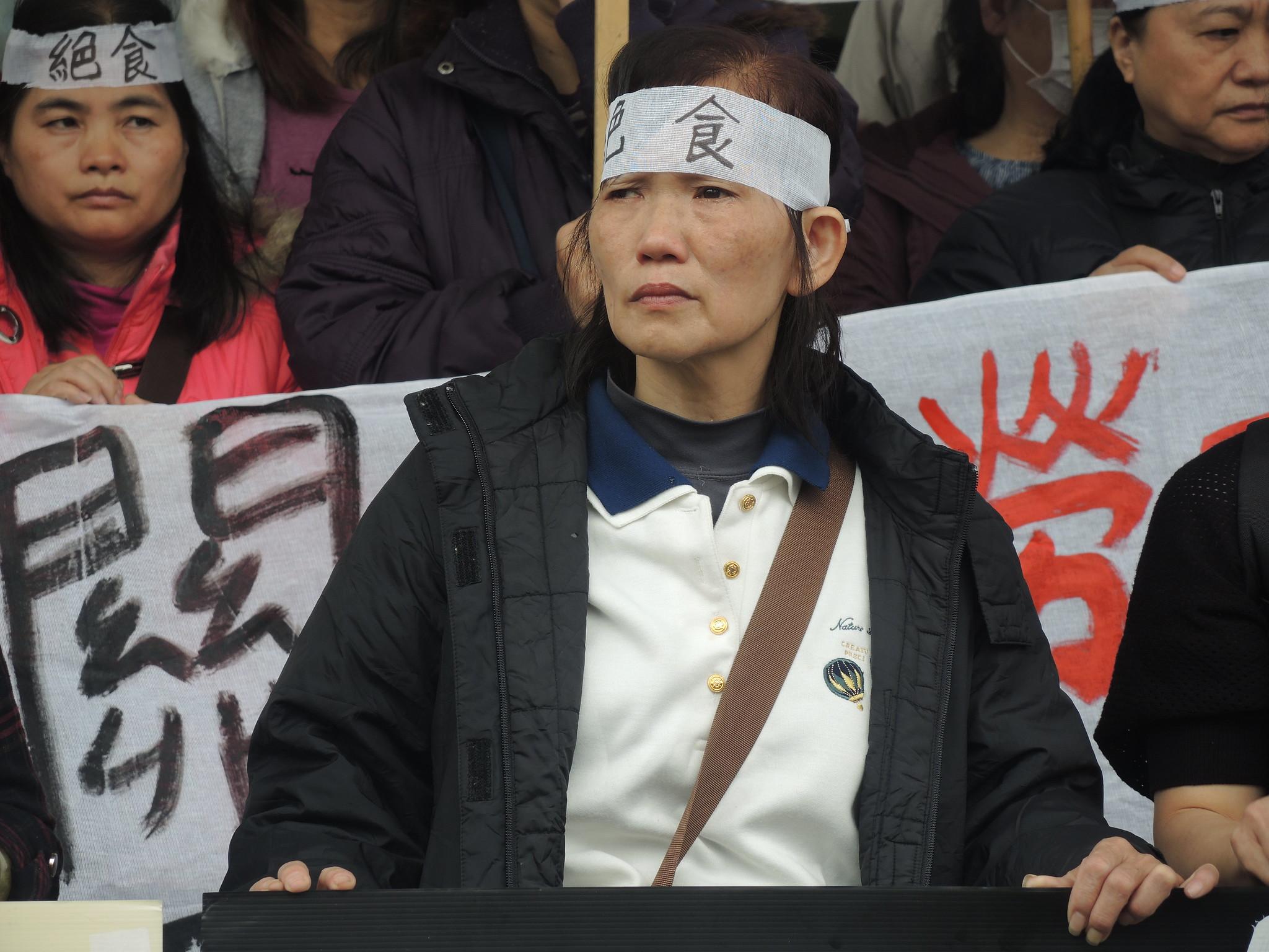 絕食工人代表陳美秀,58歲,育有四子,年資5.5年。(攝影:曾福全)