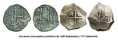 Dos pesos macuquinos potosinos de 1689 y 1717