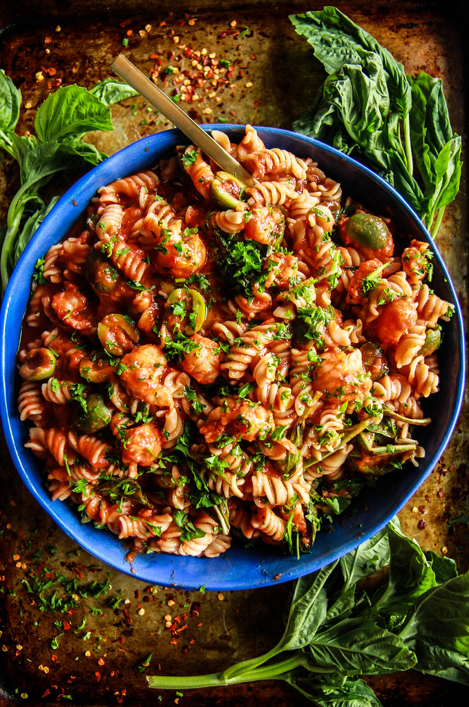 Spicy Garlicky Shrimp Tomato Pasta- Gluten and Dairy Free from HeatherChristo.com