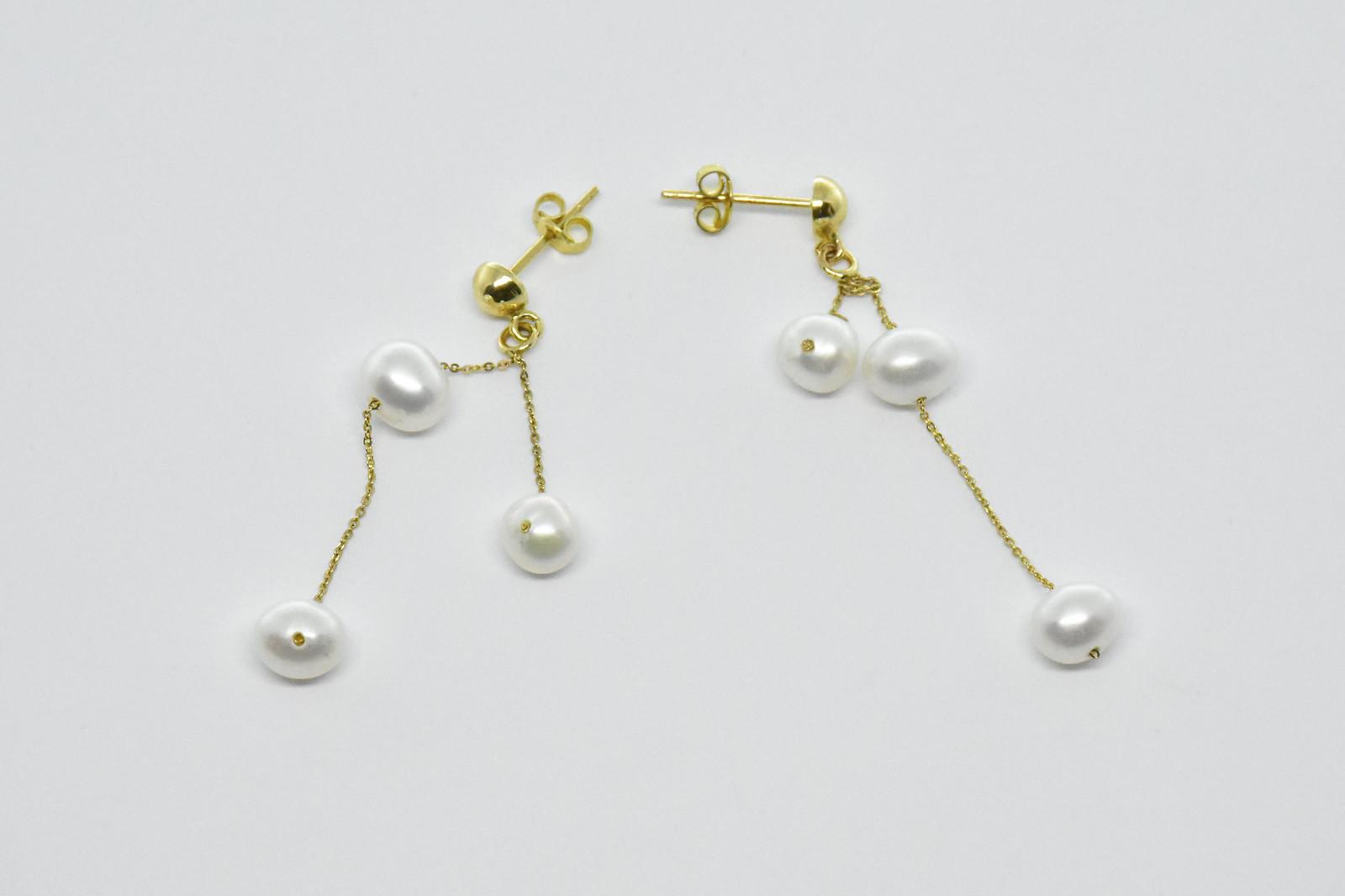 - Ahsen 14K Altın Zincirli Doğal Beyaz İnci Küpe-AH-00027