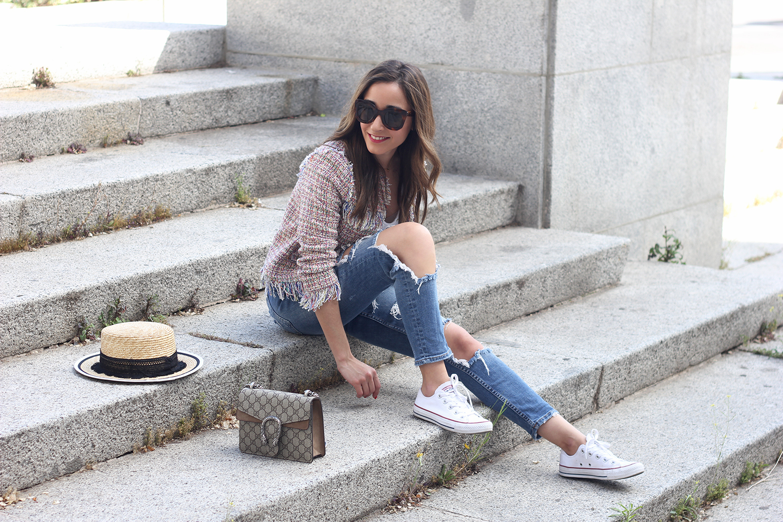 Tweed Jacket ripped jeans converse sneakers gucci bag spring outfit style02