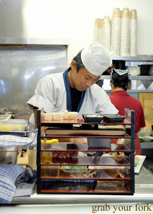 Surfing sushi chef Masaaki Koyama in the kitchen at Masaaki's Sushi in Geeveston, Tasmania