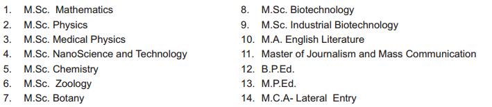 Bharathiar University PG Admission 2018