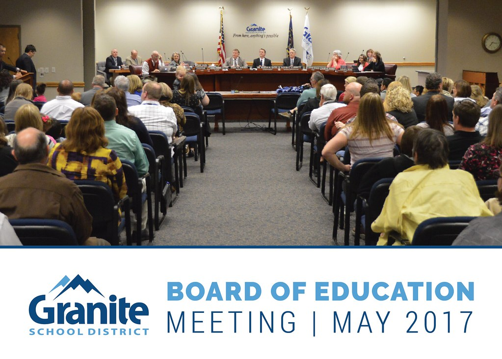 Members of the public gathered at board meeting with text 'Board of Education Meeting | May 2017'