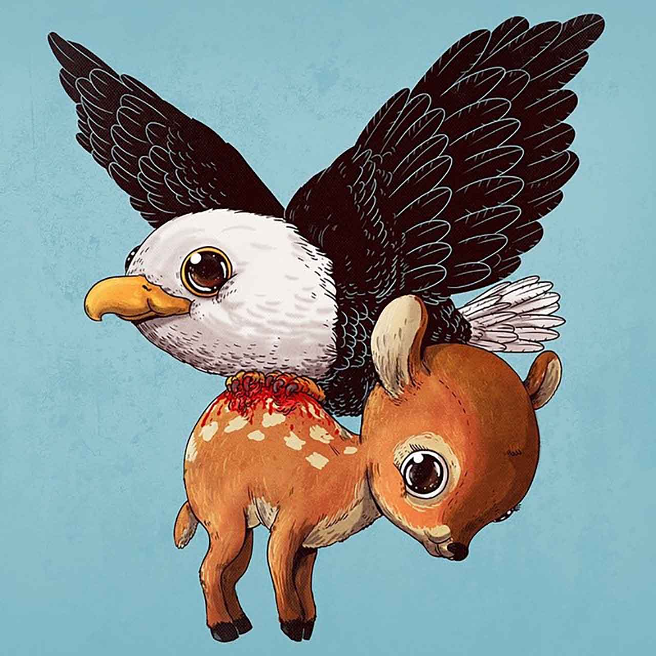 "Artist Creates Extremely Adorable ""Predator & Prey"" Illustrations #21: Eagle & Deer"