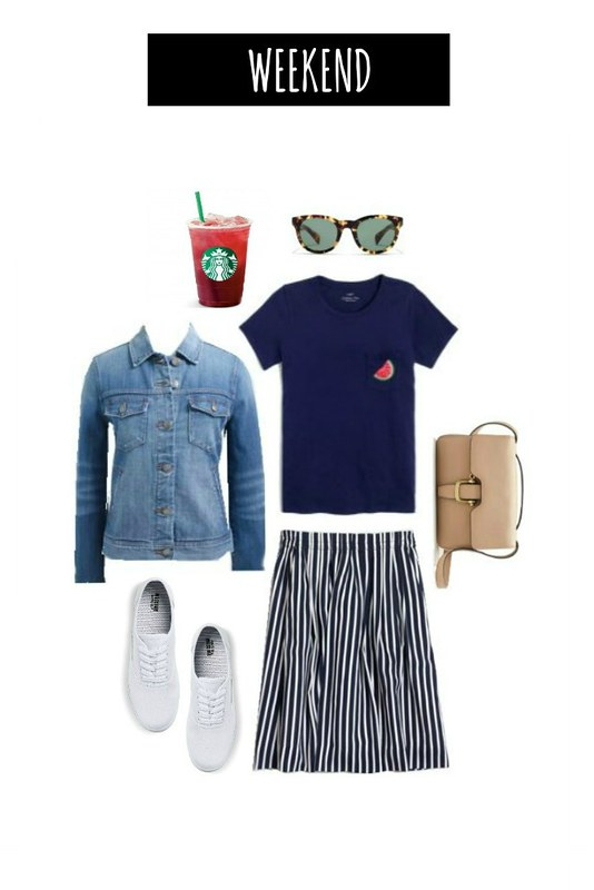 3 ways navy striped skirt for weekend | Style On Target