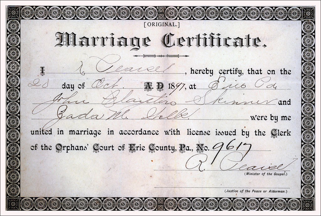 Marriage Certificate | John Clayton Skinner And Zada May Wel… | Flickr