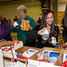 Los Alamos employees organize food for the Holiday Food Drive.