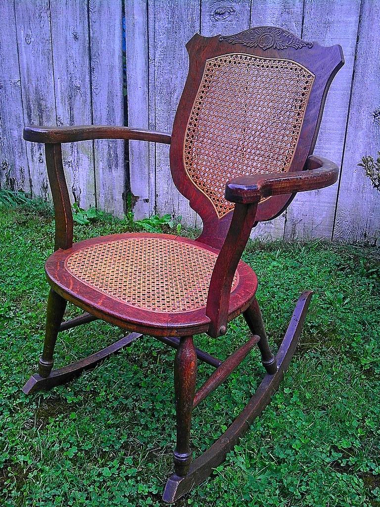 ... Antique Oak Press Cane Rocking Chair 1   By BrandyVSOP