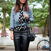 chambray, polka dots, leather pants