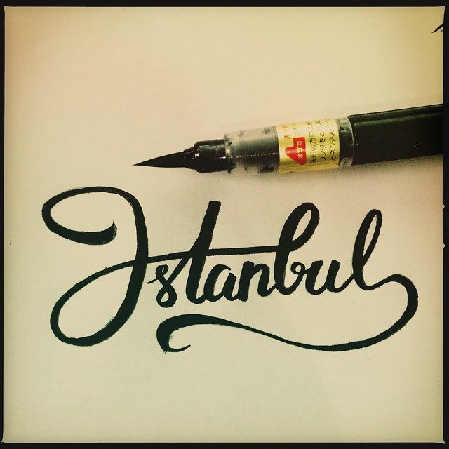 Istanbul calligraphy brush typography lettering