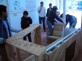 Assembling bench, planter, and countertops. Ocean Ave Portable Parklet by Youth Art Exchange. Photo by Robin Abad Ocubillo | by sfplanning