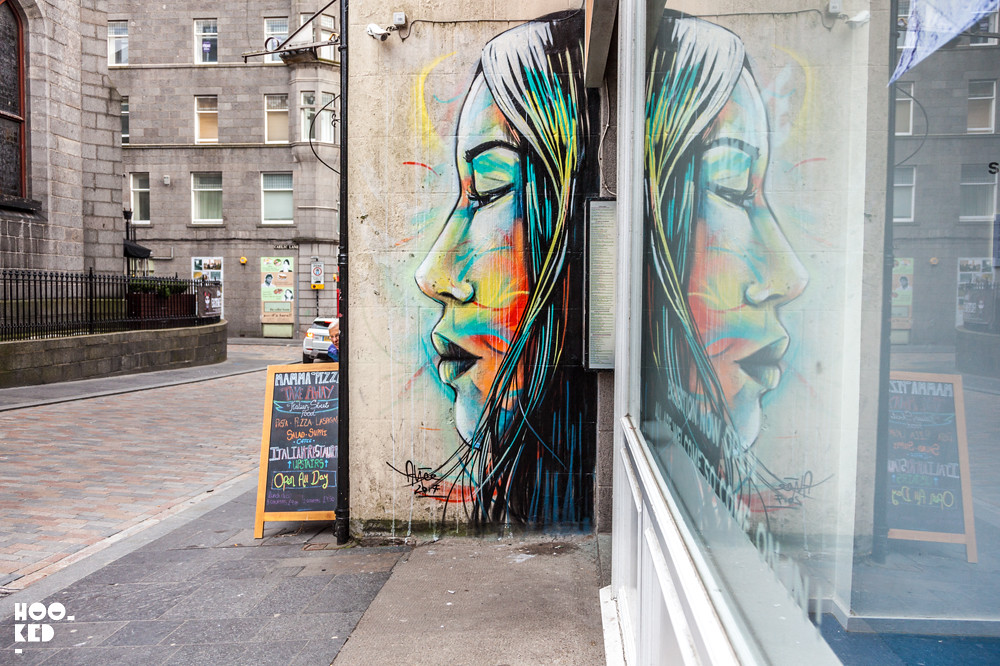 Alice Pasquini, Street Art Mural in Aberdeen, Scotland. Photo ©Hookedblog /  Mark Rigney