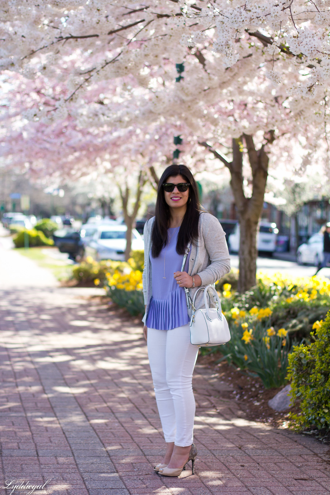 purple pleated top, white jeans, grey cardigan, spring outfit-3.jpg