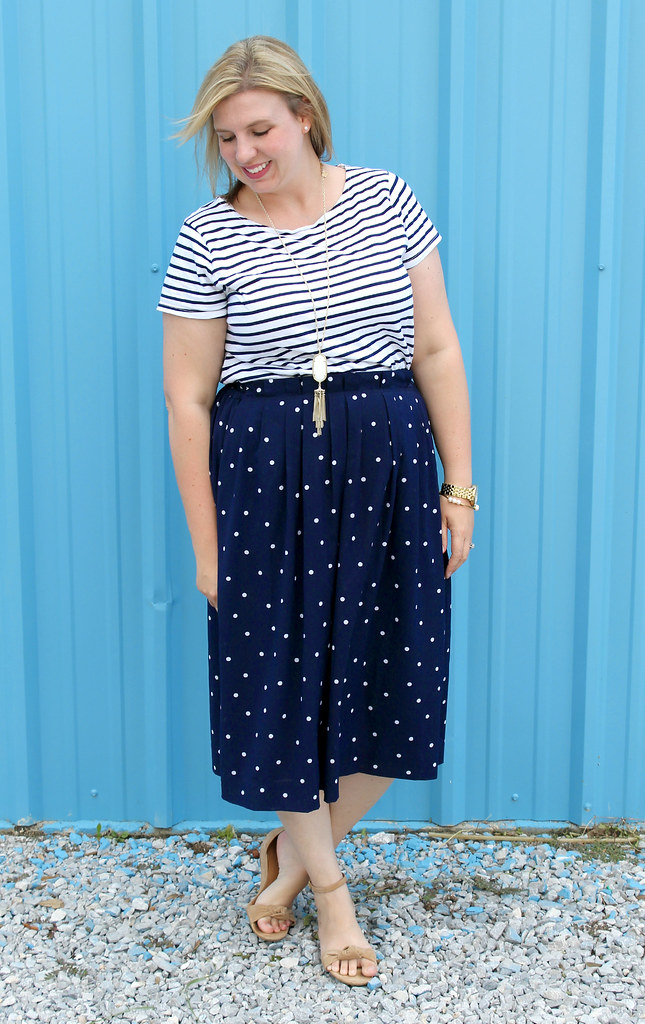 polka dot midi and breton tee 4