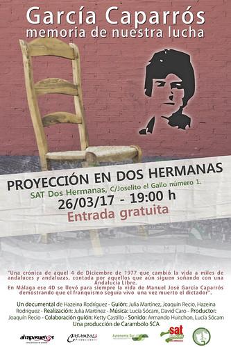 Cartel proyección documental sobre García Caparrós en el SAT