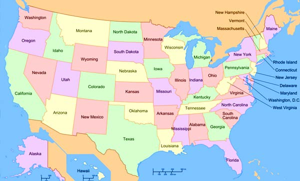 Map of States of the USA