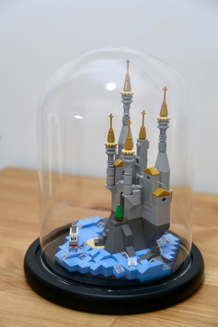 lego mirco castle in a galss dome
