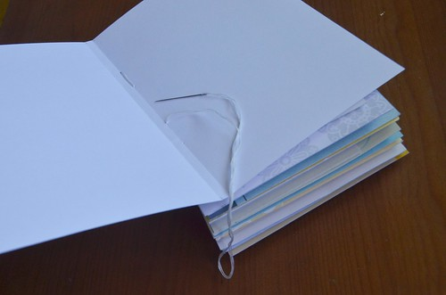 17. Sew cardstock to canvas & card stack as before, making sure untouched fold is on the outside.