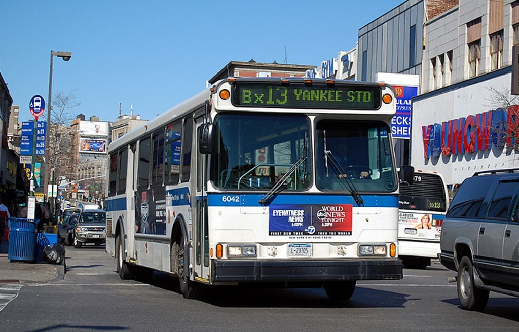 Mta new york city transit route bx13 no 6042 1998 99 for Time table bus 99