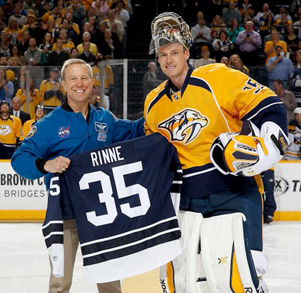Tim Kopra and Pekka Rinne