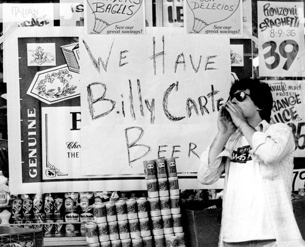 circa 1975:  A shopkeeper selling 'Billy Carter Beer'. Billy Carter, the brother of American President Jimmy Carter, is a noted beer drinker and has named a beer for himself.  (Photo by Peter Keegan/Keystone/Getty Images)