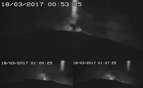 beam of light over Mt Etna 2017