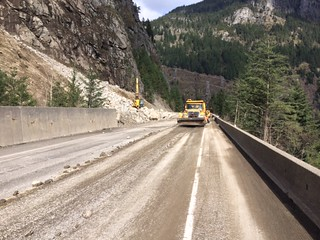 Cleaning up after rock scaling near Yale | by TranBC