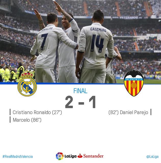 La Liga (Jornada 35): Real Madrid 2 - Valencia CF 1